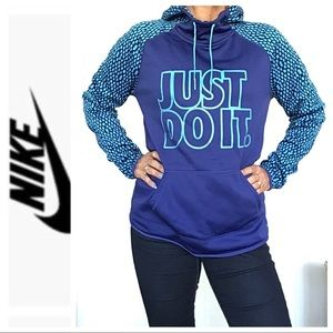 NIKE BLUE GREEN THERMA FIT JUST DO  IT HOODIE LG